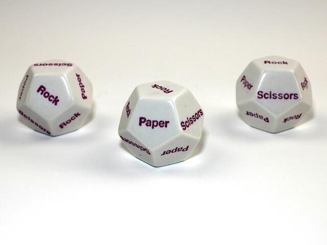 D12 Twelve Sided Rock Paper Scissors Die RPG Tabletop Game White w Purple Dice
