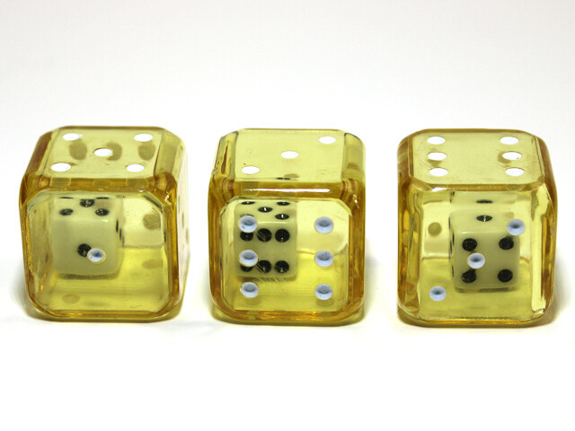 Double D6 - Small Six in Large Six Dice - Yellow White Gaming Tabletop Roleplay