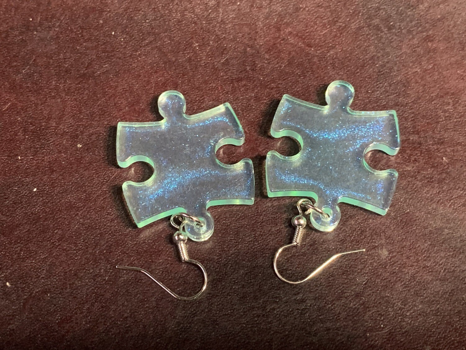 Puzzle Piece Puzzle Earrings - Chessex Dice Style Borealis - Green
