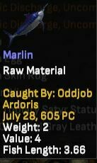 Marlin (Not Mounted) Weight 2 - Length 3.66 - Shroud of the Avatar