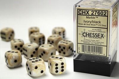 Chessex 16mm 12D6 Block - Marble Ivory Black Dice Set Tabletop Gaming RPG Card