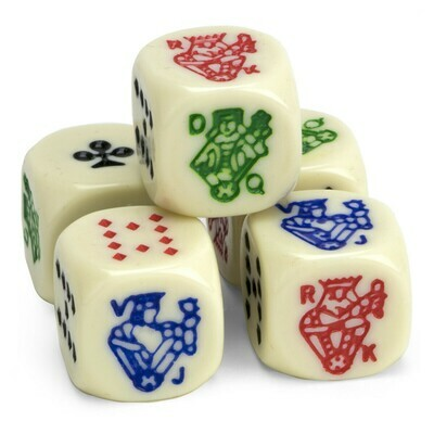 Ivory 16mm Opaque Poker Dice RPG Gaming Tabletop Roleplay Games Card Board 5 PACK