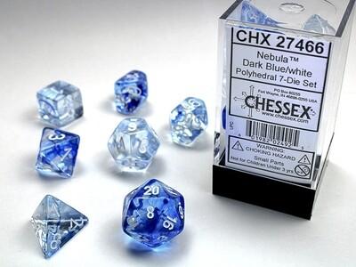7 Die Dice Polyhedral Set - Chessex Nebula Dark Blue with White RPG Tabletop