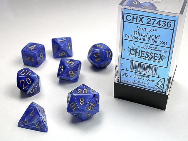 16mm 7 Die Dice Polyhedral Set - Vortex Blue with Gold Gaming RPG Tabletop CCG