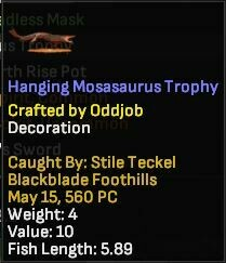 Hanging Mosasurus Trophy 4lb 5.89 - Shroud of the Avatar