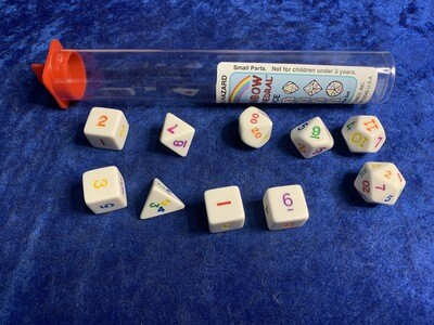Rainbow 10 Dice Polyhedral Set RPG Tabletop Gaming Board Card Roleplay Roll CCG