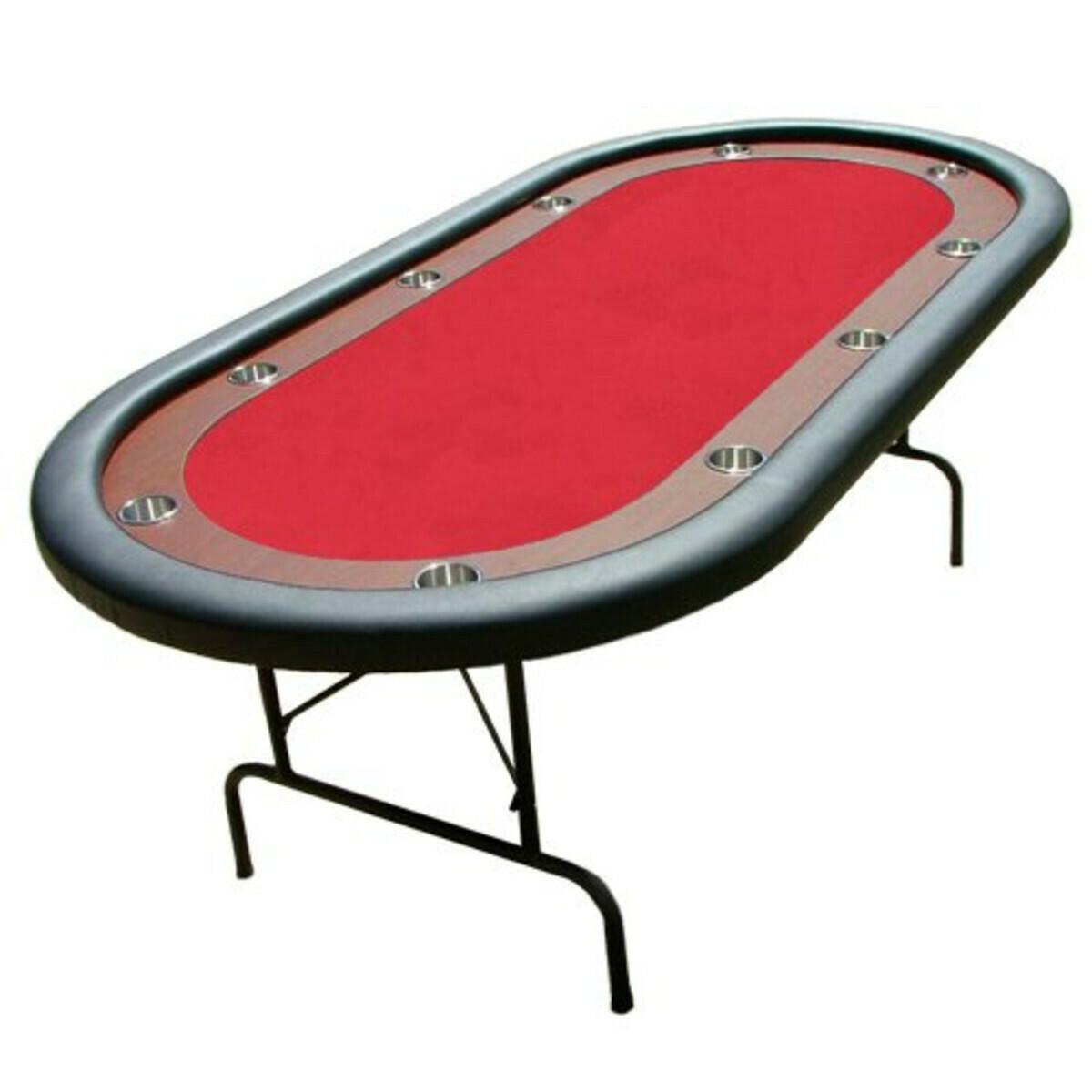 Red Felt Poker Table - Dark Wooden Veneer Race Track 84X42 SS Cup Holders