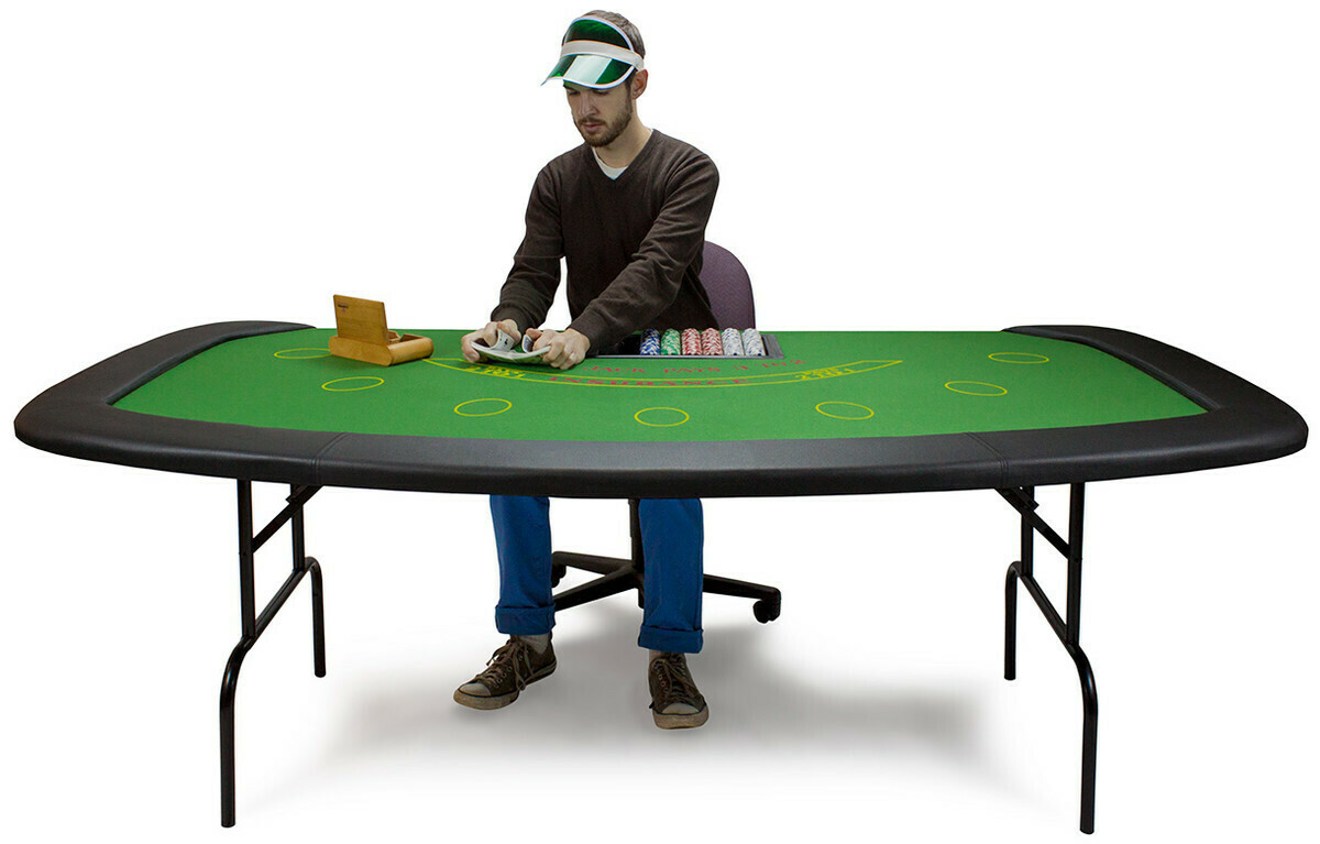 7 Player + Dealer BlackJack Table Chip Tray Padded Surface & Rail FOLDING