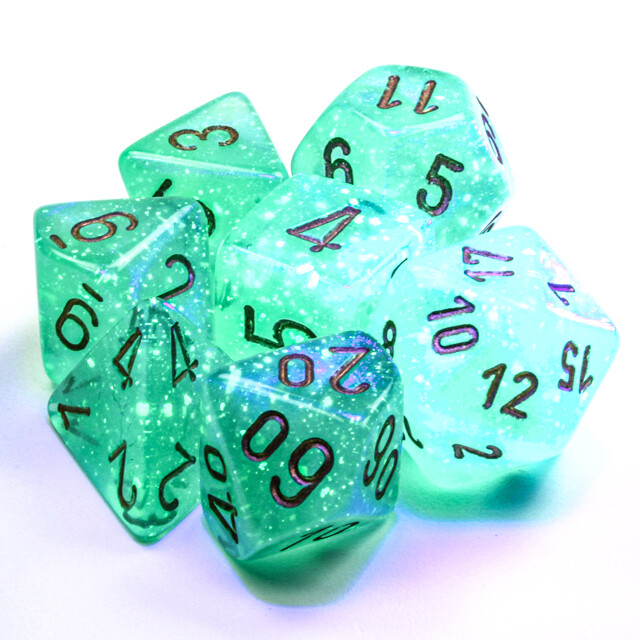 16mm 7 Die Polyhedral Dice Set - Chessex Borealis Luminary Light Green with Gold Tabletop RPG Roleplay Games CCG Board Card Counter Token Marker