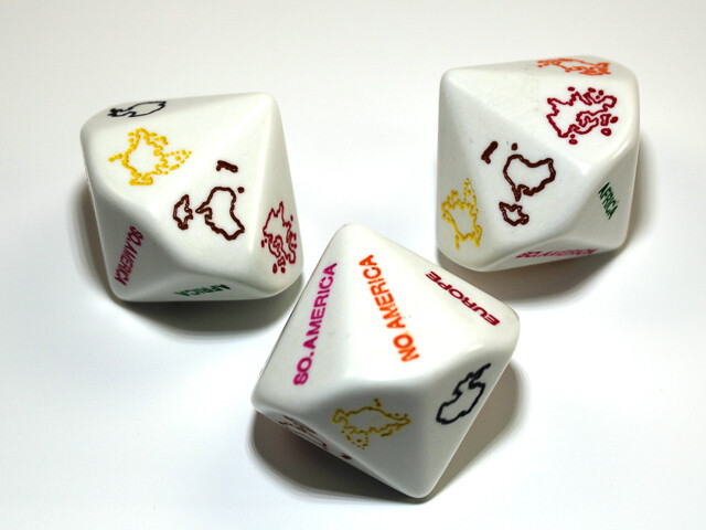 Continents 14 Sided D14 Random Roll  Dice - Great for Role Playing Games Tabletop CCG Board Card Decisions Teaching Geography