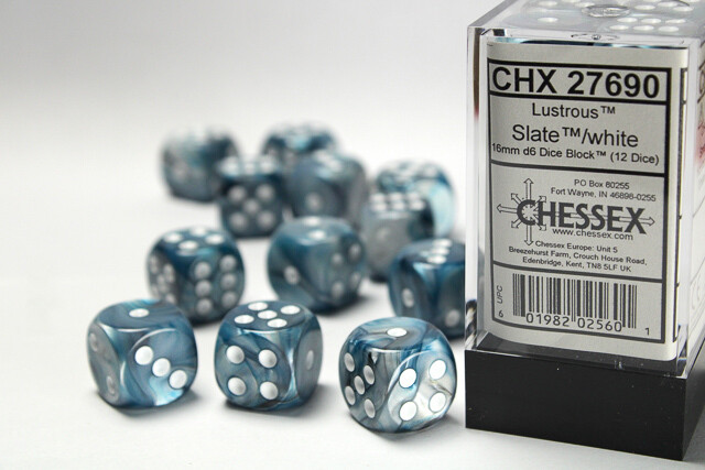 Chessex 16mm 12D6 Block - Lustrous Slate with White RPG Tabletop Gaming Board