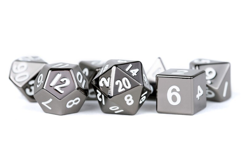 Metal Sterling Gray 16mm 7 Die Polyhedral Dice Set (Or Individually) - Gaming Tabletop RPG Roleplay Board CCG Tokens Markers Decisions
