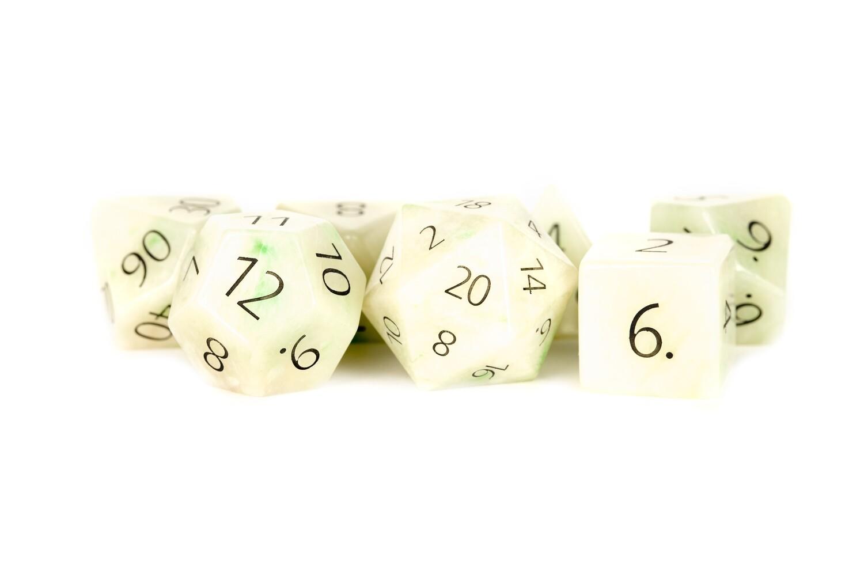 Engraved Jade: Full-Sized 16mm 7 Die Polyhedral Set RPG Tabletop Gaming Dice