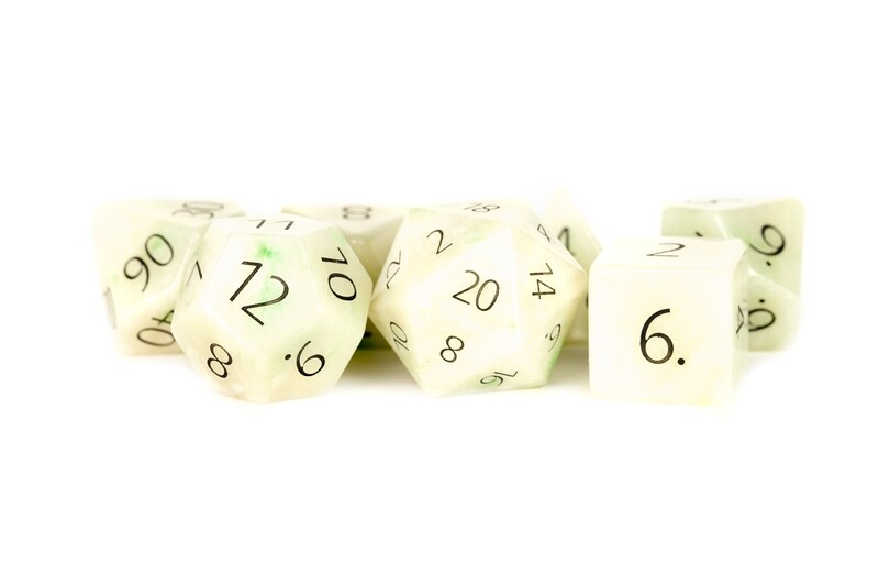 Engraved Jade: Full-Sized 16mm 7 Die Polyhedral Set RPG Tabletop Gaming Dice