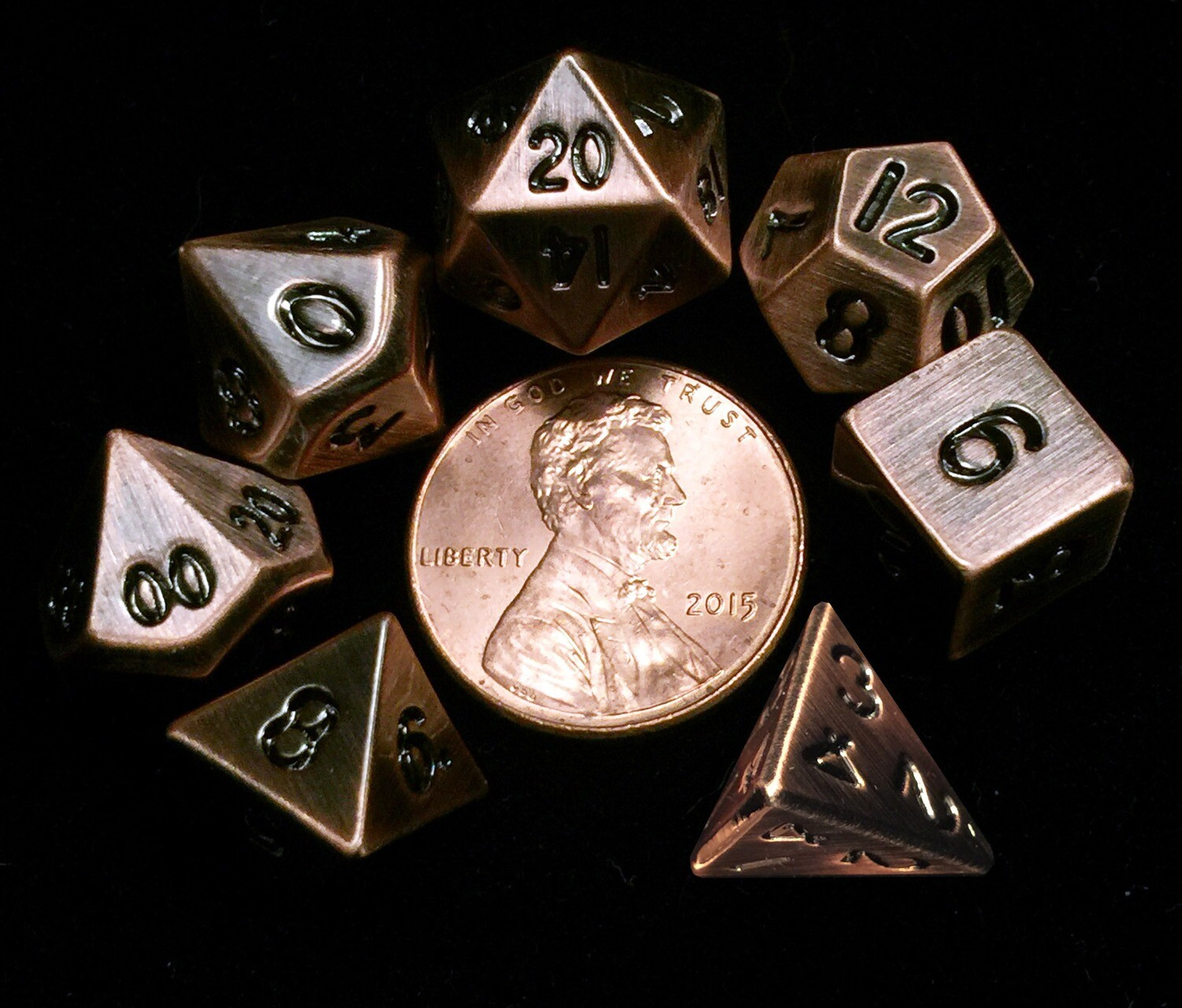 Antique Copper Mini Metal 10mm 7 Polyhedral Role Play Gaming Dice Set RPG Gaming