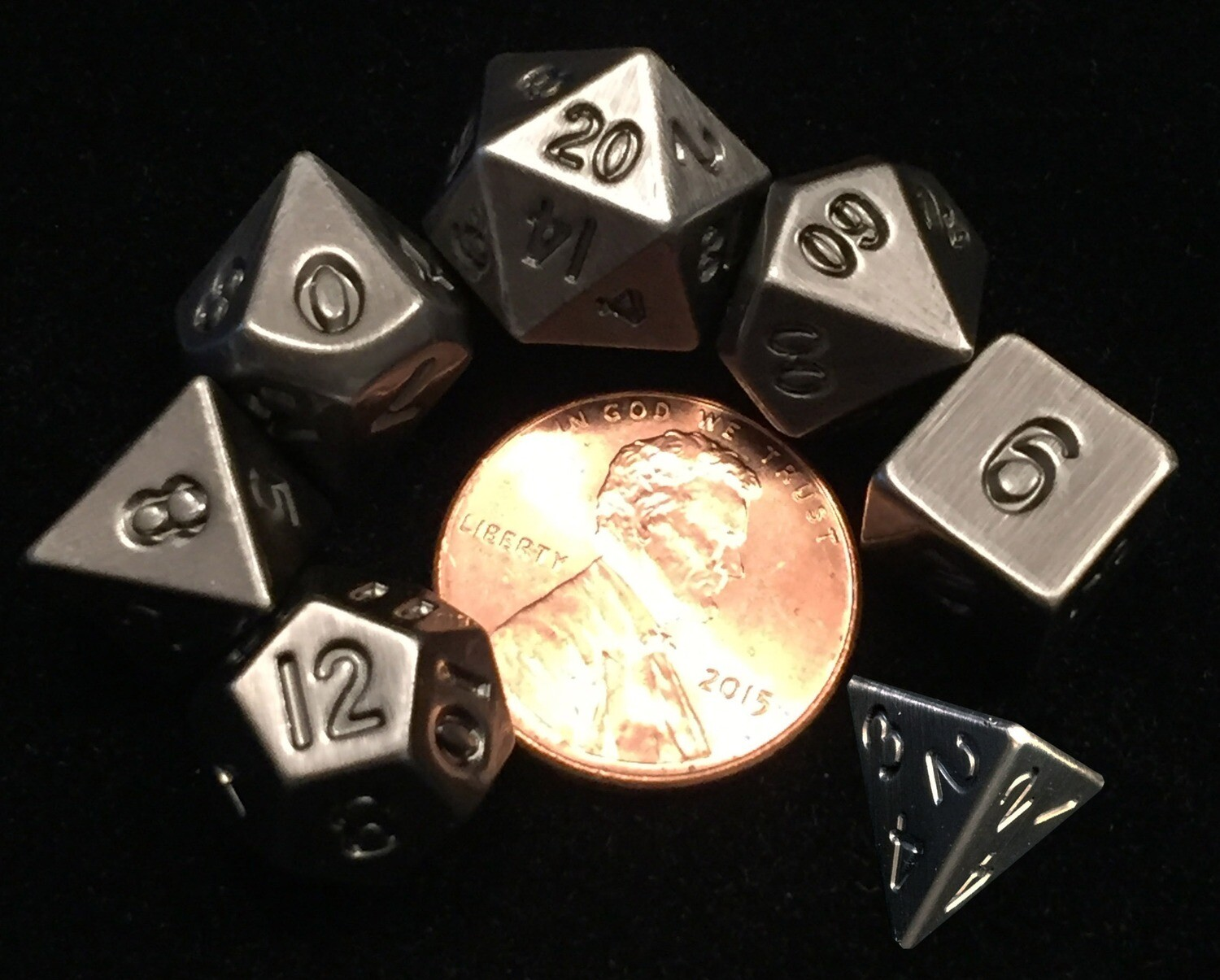 Antique Silver Mini Meta 10mm 7 Polyhedral Role Play Gaming Dice Set RPG Gaming