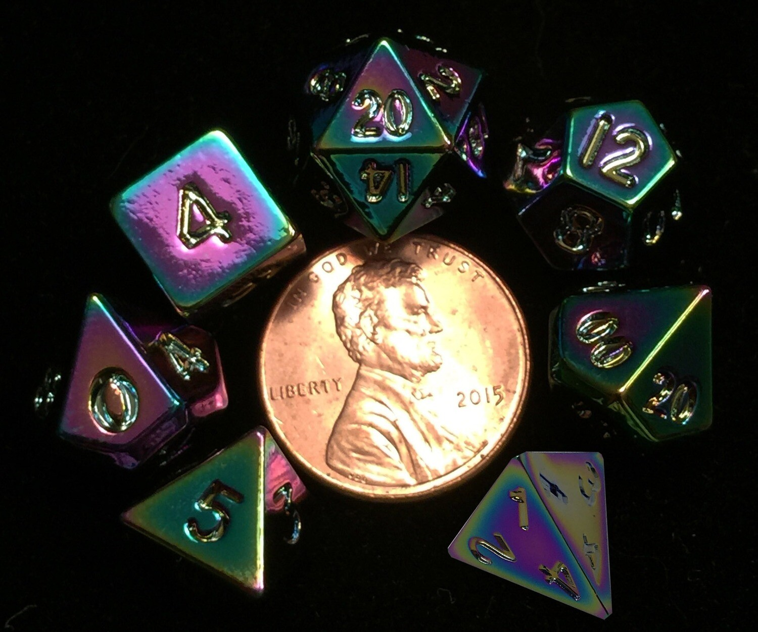 Torched Rainbow Mini Metal 10mm 7 Polyhedral Role Play Gaming Dice Set RPG Games