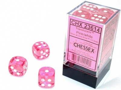 Chessex 16mm 12D6 Block - Translucent Pink with White Dice Set Tabletop Gaming