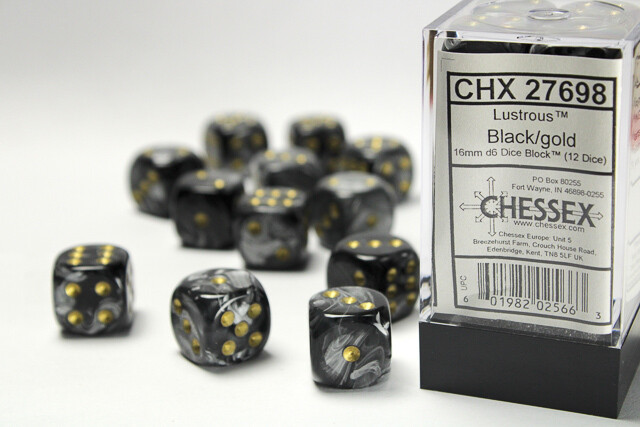 Chessex 16mm 12D6 Block - Lustrous Black with Gold RPG Tabletop Gaming Board