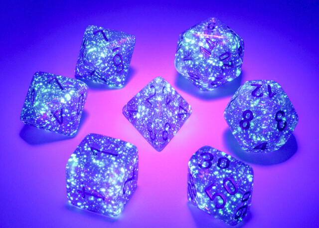 16mm 7 Die Polyhedral Dice Set -Chessex Borealis Luminary Royal Purple with Gold Tabletop RPG Roleplay Games CCG Board Card Counter Token Marker