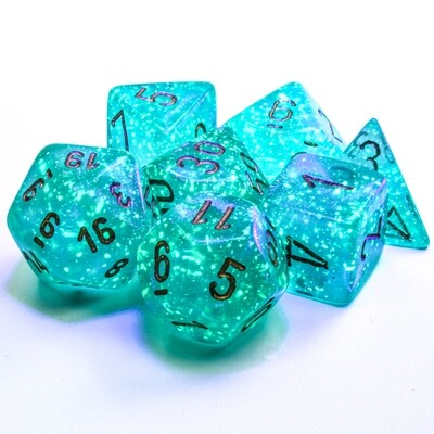 16mm 7 Die Polyhedral Dice Set -Chessex Borealis Luminary Teal with Gold RPG Tabletop RPG Roleplay Games CCG Board Card Counter Token Marker