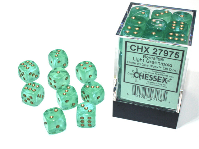 12mm Set of 36 D6 Dice - Chessex Luminary Borealis Light Green with Gold RPG