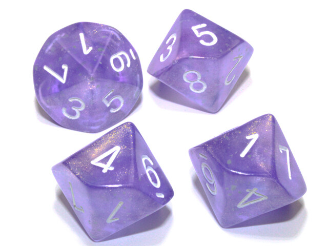 10D10 16mm Set of Ten D10 Dice - Borealis Luminary Purple with White RPG Games