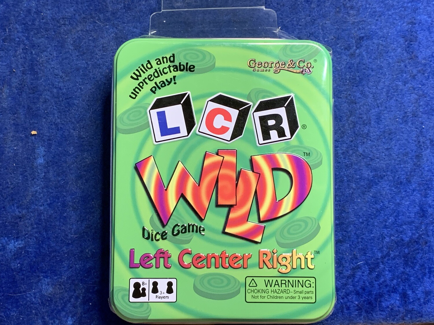 LCR Wild Green Tin Dice Game - Instructions with 3 Dice, 24 Chips, and Bag