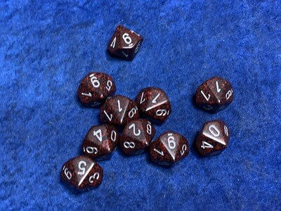 10D10 Dice Ten 10-Sided Speckled & Elemental Silver RPG Tabletop Gaming Set CCG