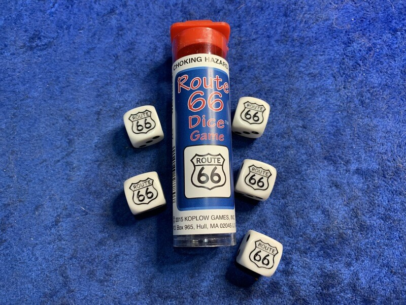 Route 66 Street Sign Dice Game 5D6 Die Gaming Tabletop Games Family Fun