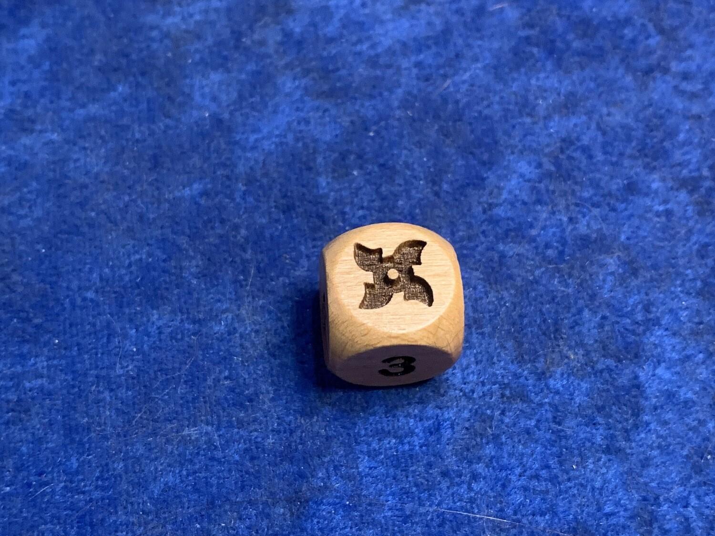 Ninja Throwing Star 16mm Custom D6 Six-Sided Wood Engraved Die Rounded Corners RPG Tabletop Gaming Games CCG Board Roleplay LARP Cosplay