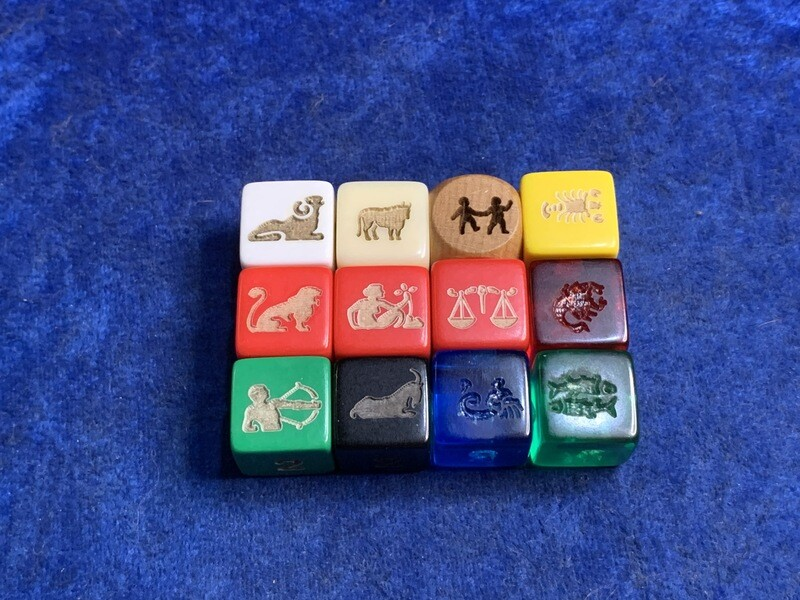Zodiac 16mm Custom D6 Six-Sided Engraved Die RPG Tabletop Gaming Games CCG Board Roleplay LARP Cosplay Dice Tokens Markers Decision Makers