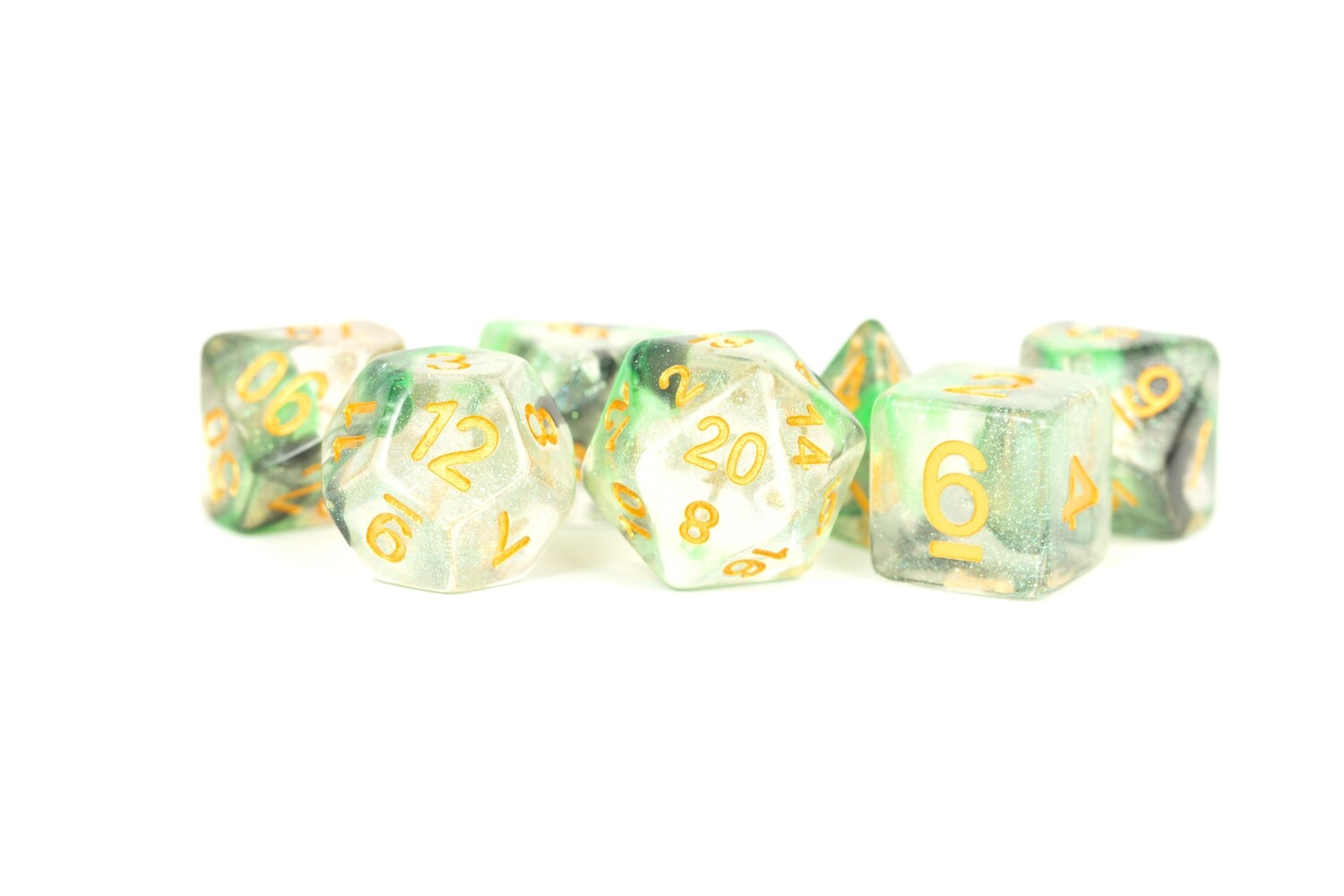 Luminous Venom 16mm Polyhedral 7 Dice Set Tabletop RPG CCG Board Games Counter Token Markers Decision Makers Roll Dungeon Pathfinder