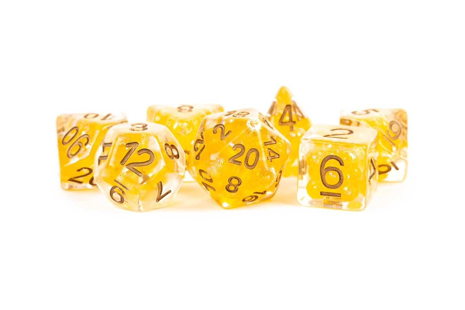 Pearl Dice Citrine with Copper Numbers 16mm Resin Poly Dice Set Tabletop RPG CCG Board Games Counter Token Markers Decision Makers Roll
