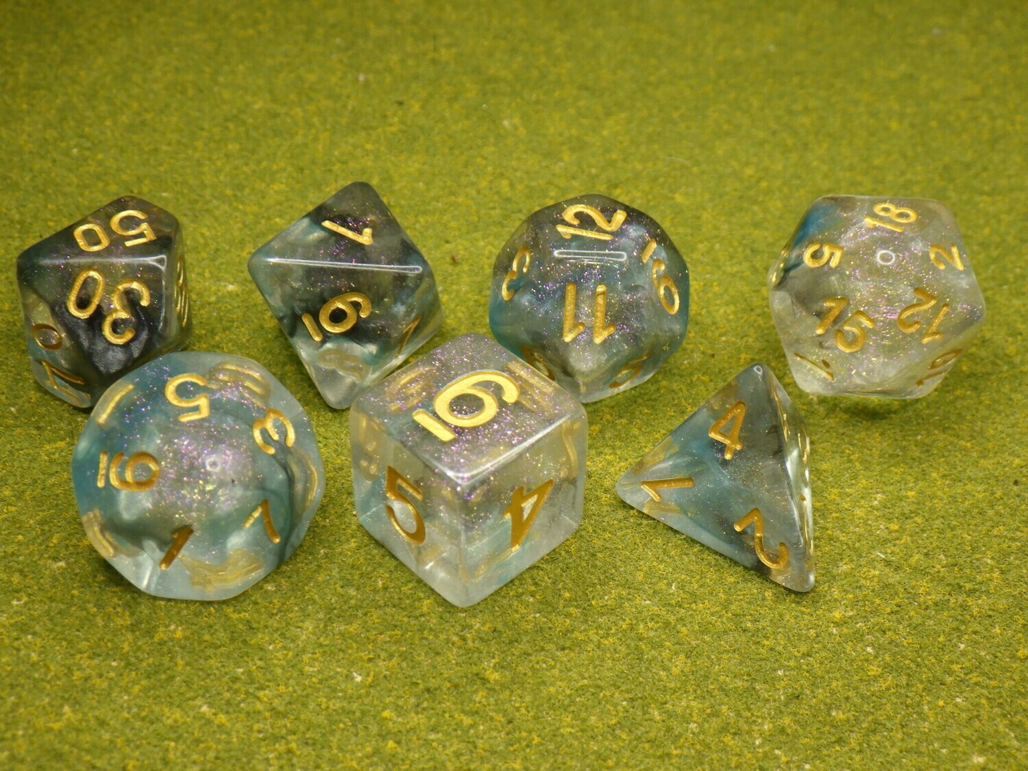 Luminous Shade 16mm Polyhedral 7 Dice Set Tabletop RPG CCG Board Games Counter Token Markers Decision Makers Roll Dungeon Pathfinder