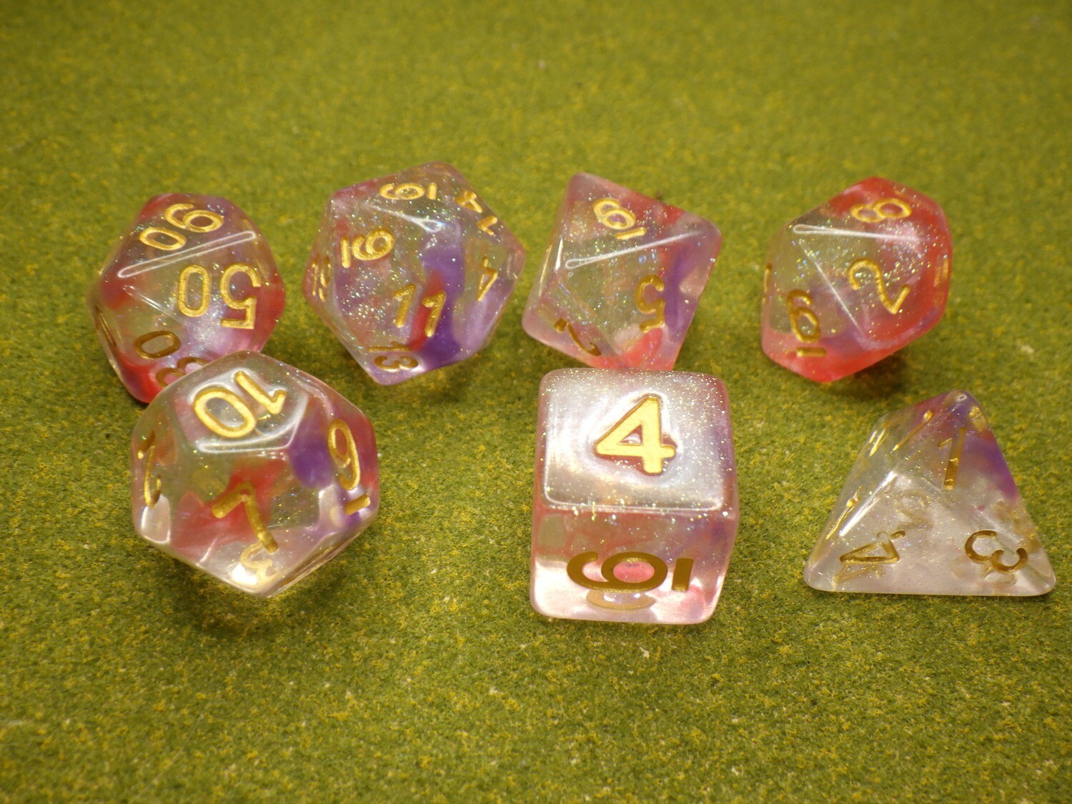 Luminous Ruby 16mm Polyhedral 7 Dice Set Tabletop RPG CCG Board Games Counter Token Markers Decision Makers Roll Dungeon Pathfinder