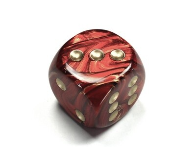 Jumbo 30mm D6 Scarab Scarlet Gold Dice Extra Large RPG Tabletop Roleplay CCG