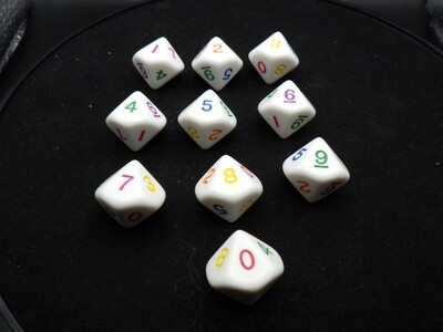 Rainbow 10D10 (Ten Ten-Sided) Dice Polyhedral Set RPG Tabletop Gaming Board Card Roleplay Roll CCG Games Tokens Counters Markers Random
