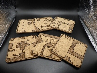 Modular Dungeon Custom Made Coaster Set Art from Adventure Post - Double Sided, Single Sided, With or Without Felt Backings Optional Color