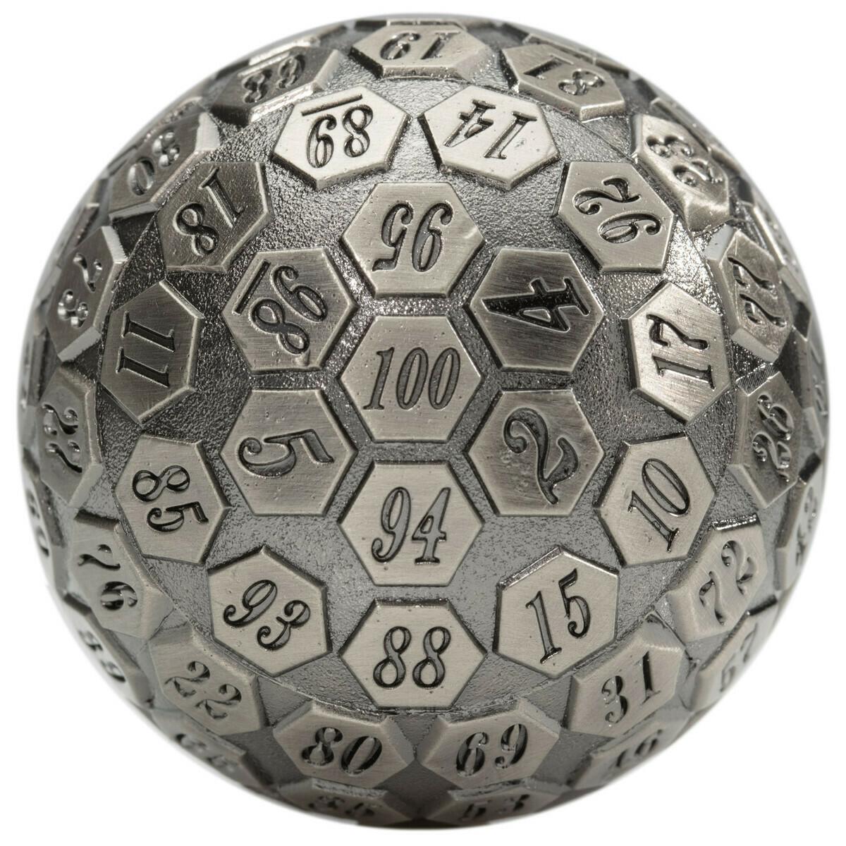 45MM Metal D100 Die - Orb of Predestined Fate - Ancient Silver  RPG Tabletop