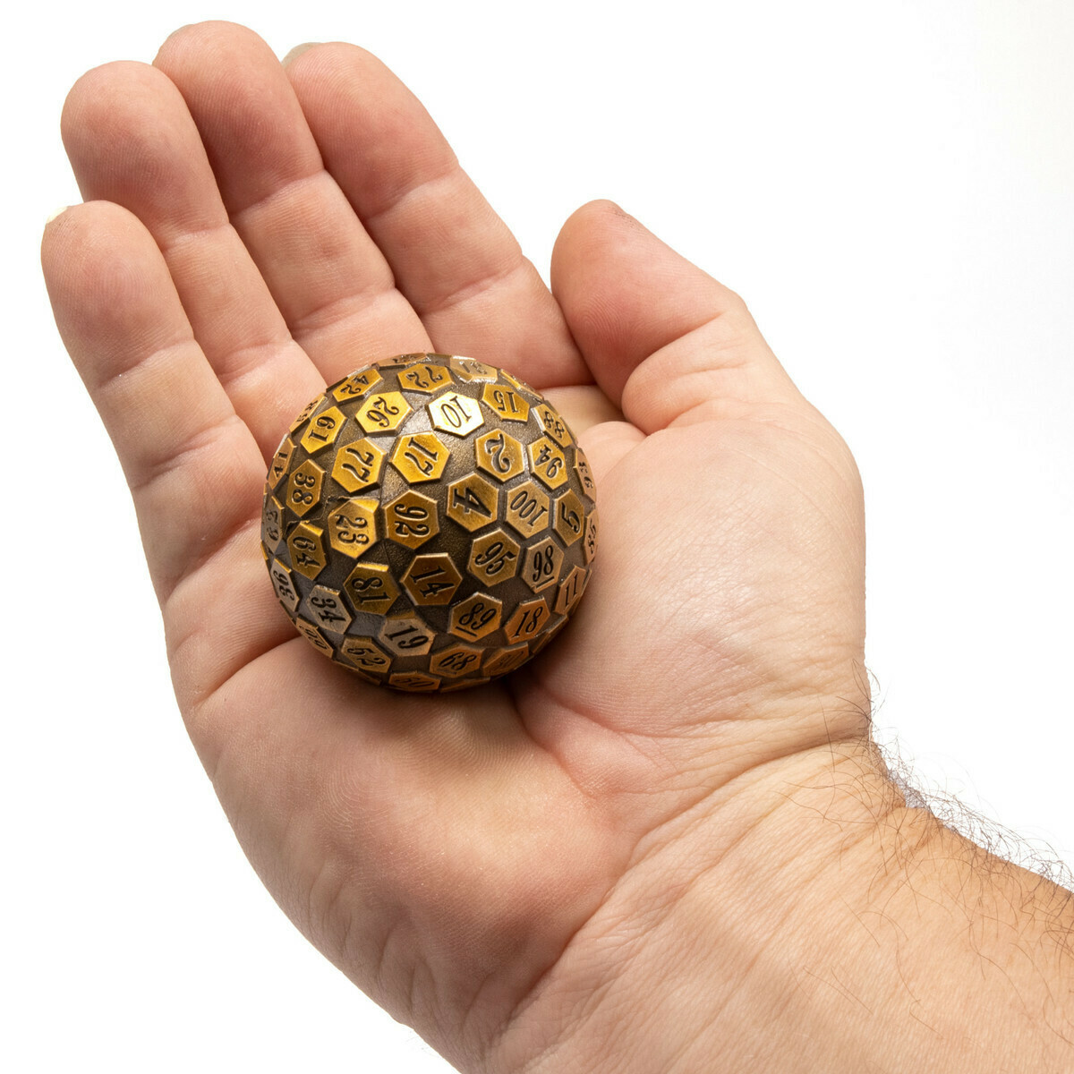 45MM Metal D100 Die - Orb of Predestined Fate - Ancient Gold RPG Tabletop