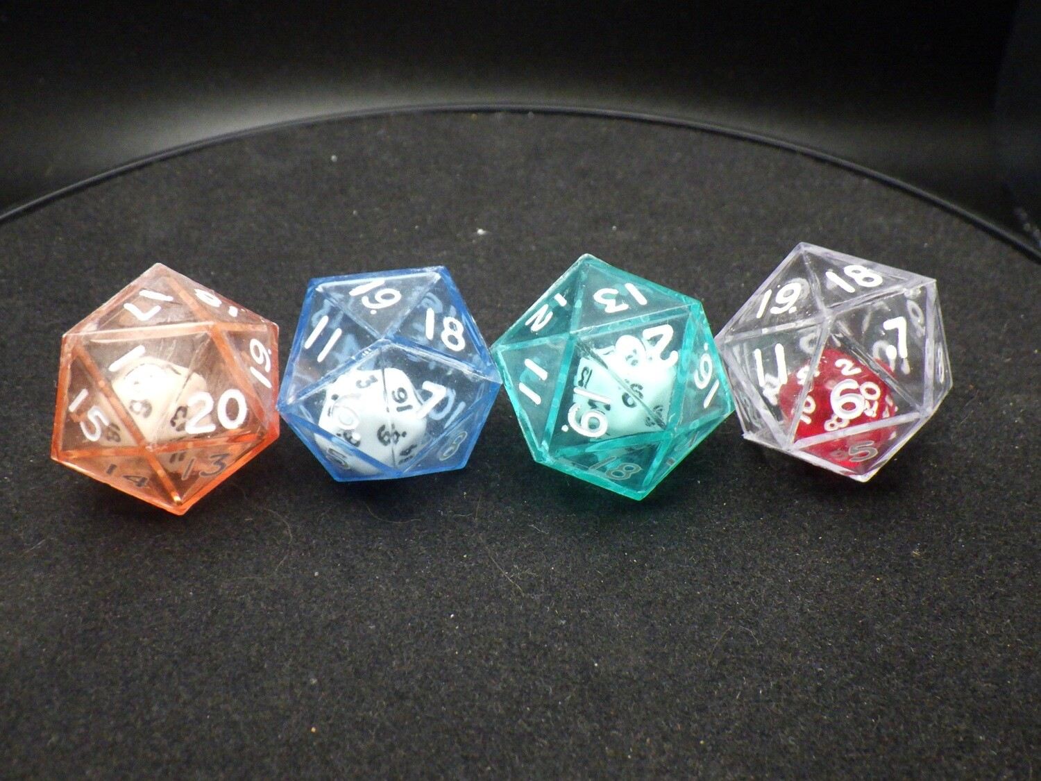 Double D20 - Small Twenty Sided Die in Larger Transparent Twenty Sided RPG Tabletop Gaming Roleplay CCG Board Card Games