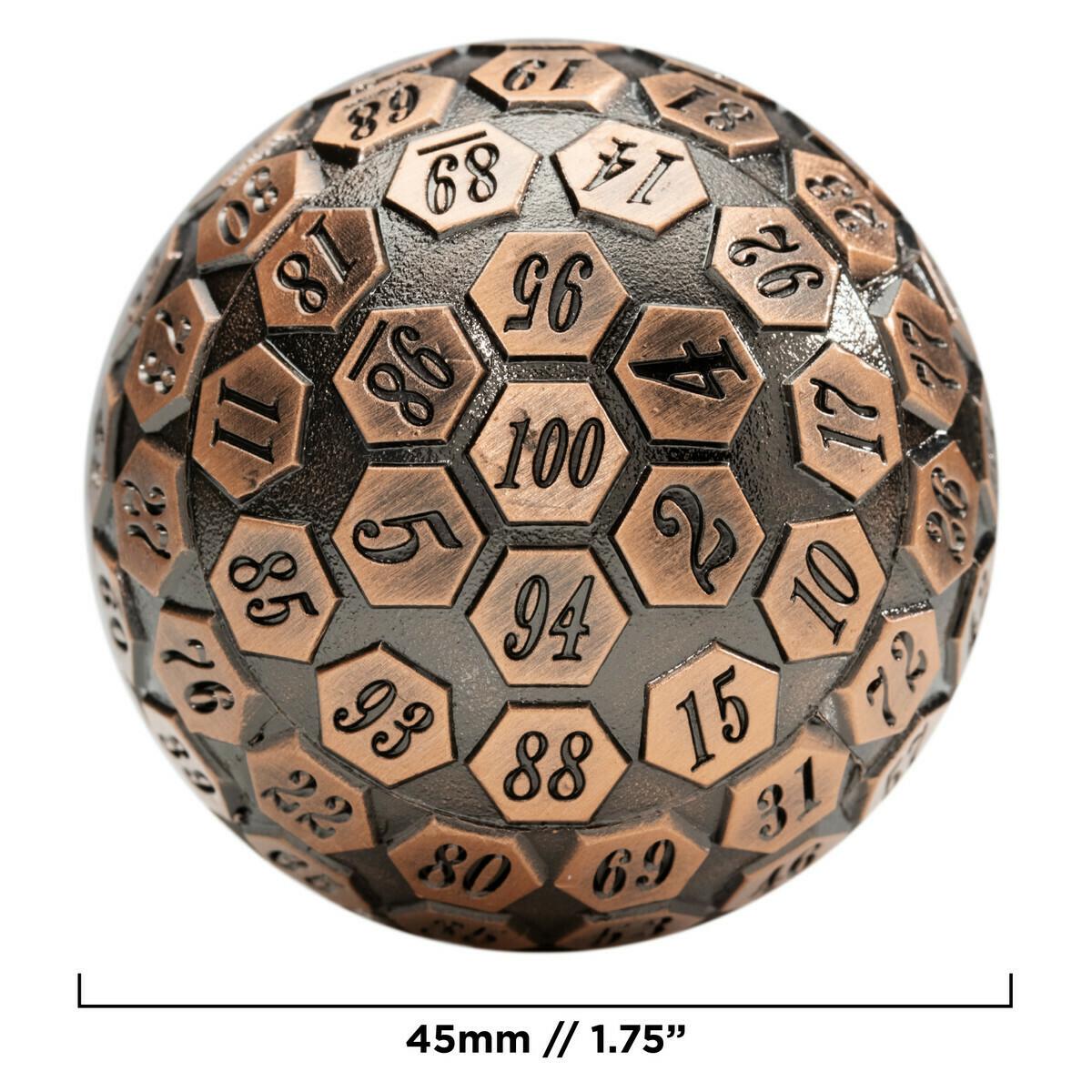 45MM Metal D100 Die - Orb of Predestined Fate - Ancient Copper RPG Tabletop