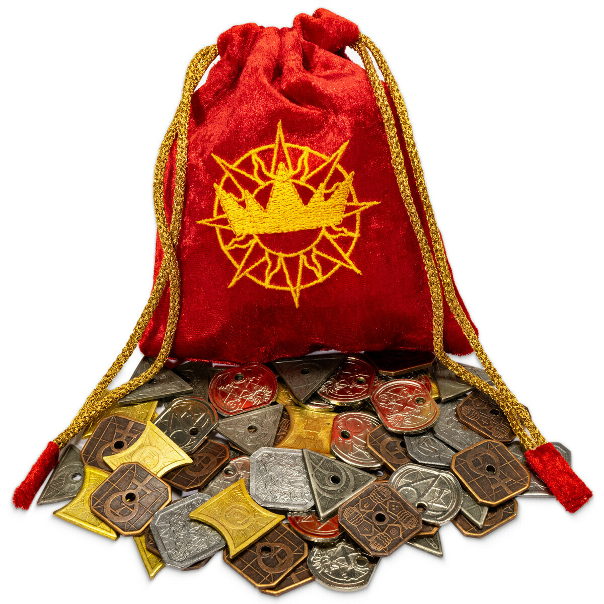 The Kings Coffers 60 Metal Fantasy Coins with Pouch Great for LARP & RPG Prop
