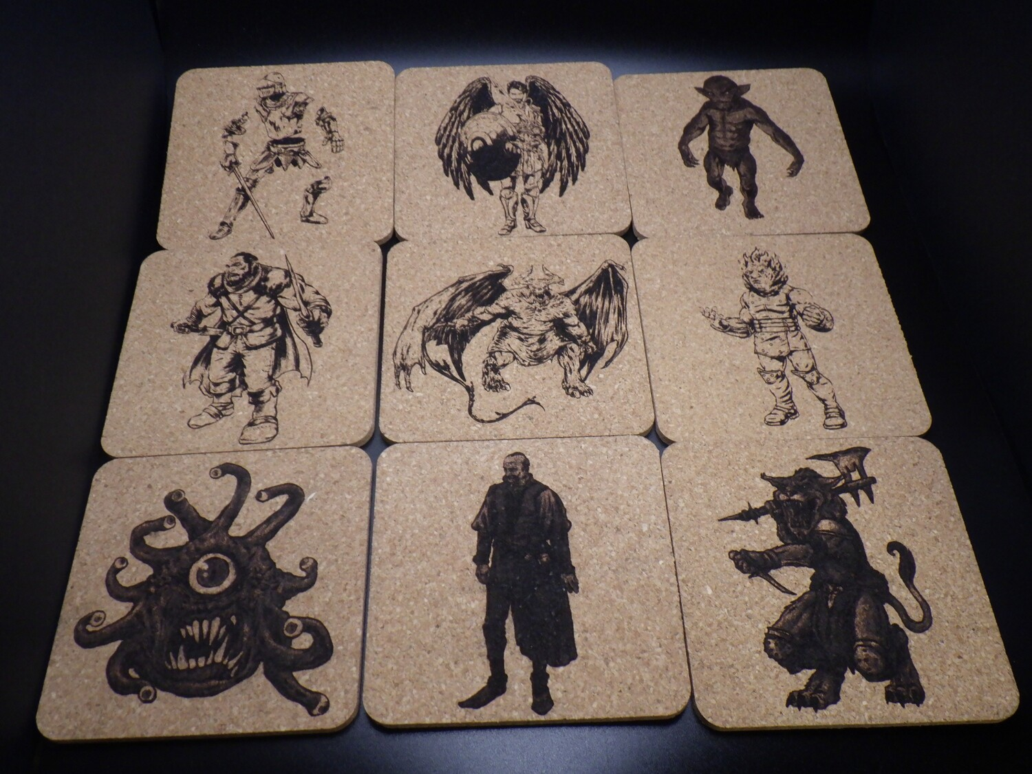 Fantasy Monsters Creatures RPG Tabletop Roleplay Games Custom Made Coaster Image Name Map - With or Without Felt Backings Optional Color