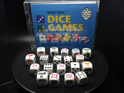 62 Dice Games - Instructions with Dice Tabletop Gaming - D6 RPG Roleplay Gaming Cards Board CCG Random Token Counter Decision Making