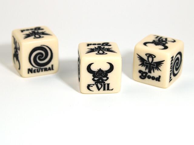Alignment D6 Good Evil Custom Engraved RPG Gaming Die Roleplay Tabletop