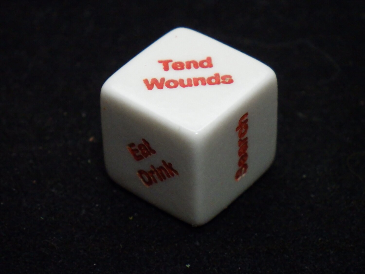 Action V2 Decision Maker 1D6 Die Custom 16mm Loot, Tend Wounds, Eat Drink, Rest, Search, Assist Other, Gaming Tabletop RPG Dice Roleplay