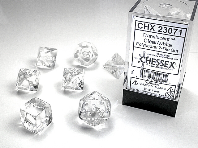 16mm 7 Die Dice Polyhedral Set - Translucent Clear with White RPG Tabletop