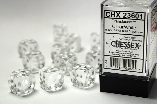 Chessex 16mm 12D6 Block - Clear with White Dice Set Tabletop Gaming RPG Roleplay